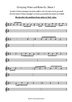 grouping notes and rests exercise sheets 1 5 by yvonne johnson music