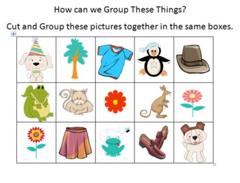 Grouping Objects Maths Evaluation Sheet Cut & Paste