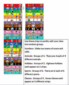 Grouping Strips - 2 Teams or Groups of 2, 3, 4, 5, or 6