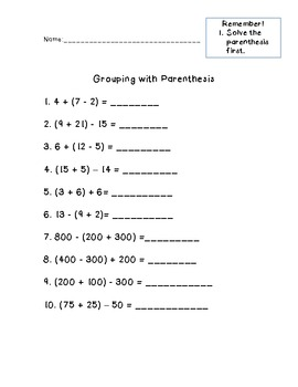 Grouping with Parenthesis