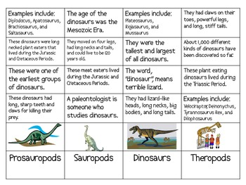 Groups of Dinosaurs Sort Activity