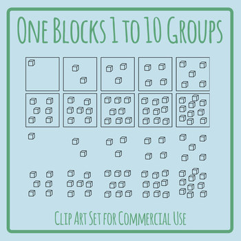 Groups of One Blocks Place Value Clip Art Set for Commercial Use