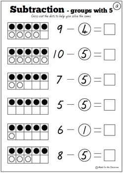 Groups with 5 Subtraction Worksheets