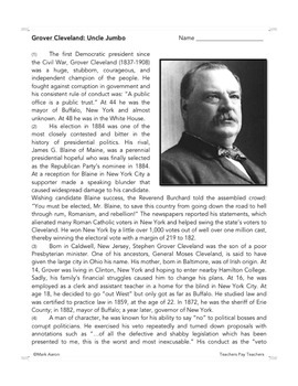 Grover Cleveland: Common Core-Aligned Biography and Assessment
