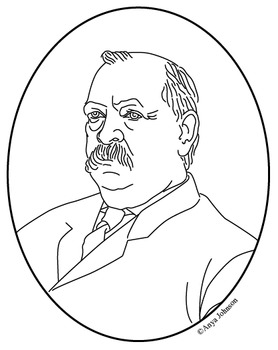 Grover Cleveland (22nd President) Clip Art, Coloring Page