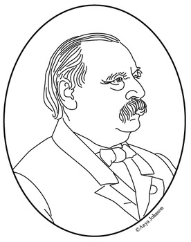 Grover Cleveland (24th President) Clip Art, Coloring Page or Mini Poster