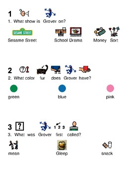 Grover Sesame Street - Picture supported text lesson review questions visuals