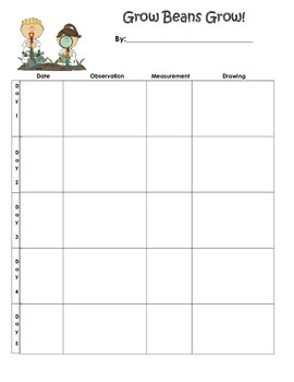 Grow Beans Grow! Plant Observation Chart