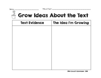 Grow Ideas About the Text