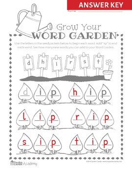 Grow Your Word Garden Short Vowels CVC Worksheets