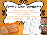 Grow and Glow Post-It Comments for kindergarten and First Grade Writing!