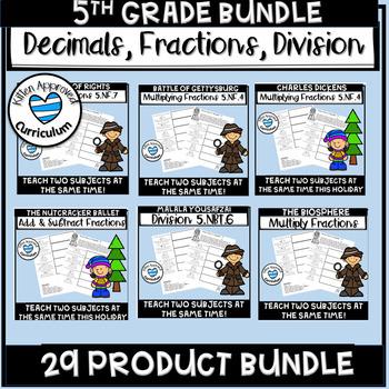 Math Worksheets Mixed Review 5th Grade Bundle