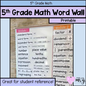 5th Grade Math YEARLONG Word Wall