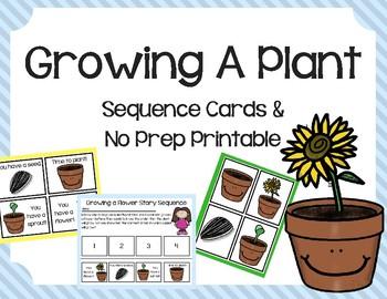Growing A Plant Sequence Cards & No Prep Printable/Worksheet