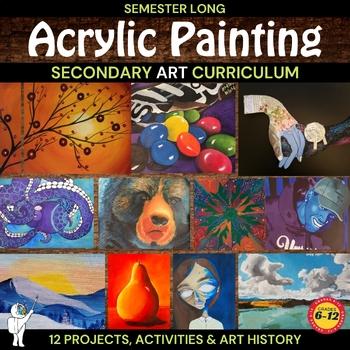 Visual Art Growing Acrylic Painting & Mixed Media Lesson Bundle