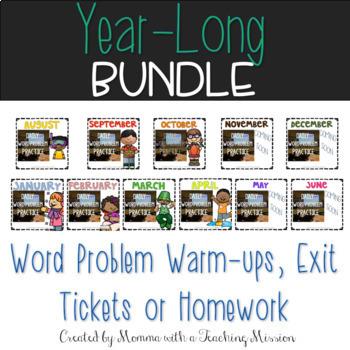 BUNDLE Monthly Word Problem Warm-Ups & Printables 1.OA.1