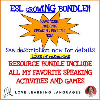ESL - ELL speaking, listening, writing activities and games - Growing bundle