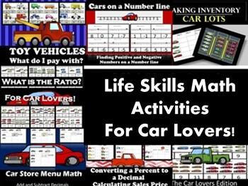 Growing Bundle: Car Themed Life Skills Middle School Math Activities
