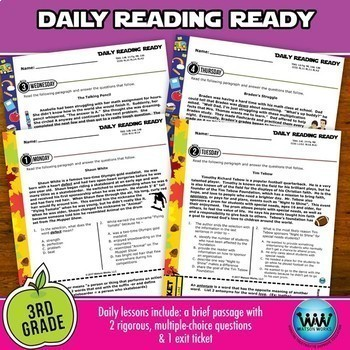 BUNDLE ~ 3rd Grade DAILY READING READY ~ Full Year Daily Reading Review