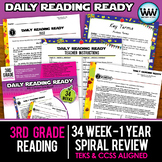 BUNDLE 3rd Grade Daily Reading Spiral Review Full Year New ELAR TEKS
