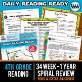 BUNDLE 4th Grade Daily Reading Spiral Review Full Year New ELAR TEKS
