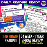 Bundle 5th Grade Daily Reading Spiral Review Full New ELAR TEKS