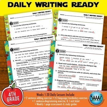 Bundle ~ DAILY WRITING READY ~ Full Year 4th Grade Daily Language Review