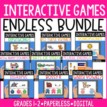 Endless Bundle:18 Digital and Paperless Phonics and Phonological Awareness Games
