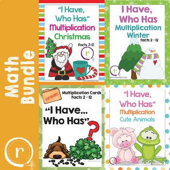 Bundle of I Have Who Has Multiplication Game Facts 2 to 12