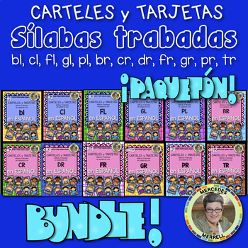 Growing Bundle! L and R Blends CARTELES y TARJETAS de sílabas trabadas ESPAÑOL