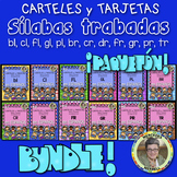 Bundle! L and R Blends CARTELES y TARJETAS de sílabas trabadas ESPAÑOL Gr. 1-3