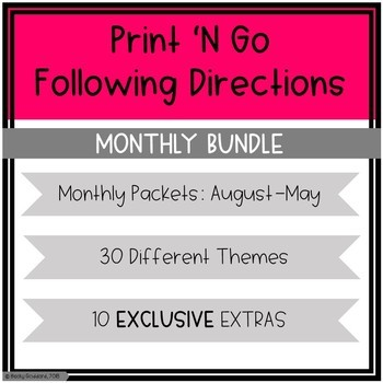 Growing Bundle!! Monthly Print 'N Go Following Directions Packets