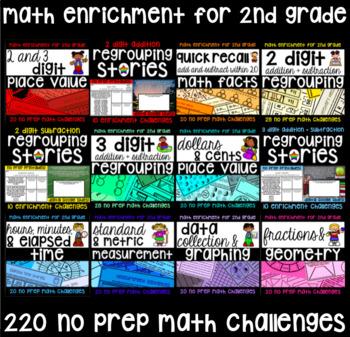 NO PREP 2nd Grade Math Challenge Mega Pack - 220 Just Hit Print Activities!