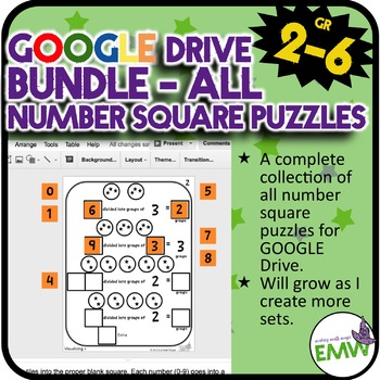 Growing Bundle - Number Square Puzzles Google Ready!
