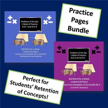 8th Grade Math Test Prep Bell Work Bundle Rational Irrational Exponents