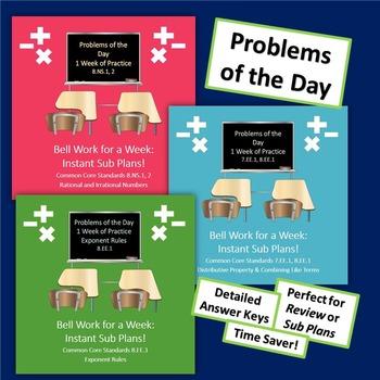 8th Grade Math Test Prep Bell Work Bundle Rational Irratio