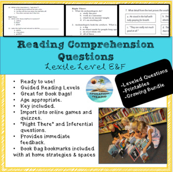 Growing Bundle - Reading Assessment Questions; Lexile levels E & F Printables