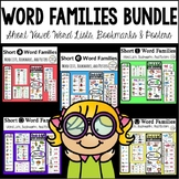 Short Vowel Word Families: Bookmarks, Posters, Lists