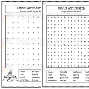 Year Round No Prep Word Search Worksheets