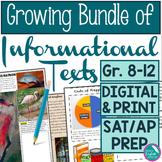 Growing Bundle Informational Texts ELA 8-12 SAT Prep Criti