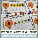 Growing Bundle of Monthly Themed Math Centers for Special Needs, ECE or Kinder