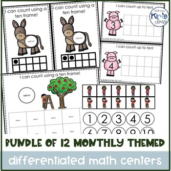 Bundle of Monthly Themed Math Centers for Special Needs, ECE or Kinder