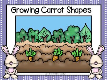 Growing Carrot Shapes:  LOW PREP Flat Shape Play Dough Activity