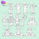 Growing Classroom Schedule Clip Art Line Art Set