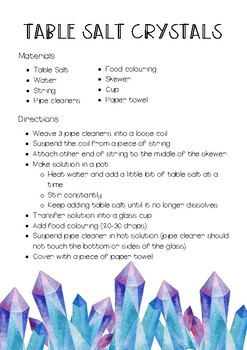 Growing Crystals Worksheets & Teaching Resources | TpT