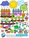 Growing Garden.Big Bundle. Digital Clipart. Instant Downlo