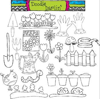 Growing Garden Blackline Clipart
