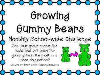 Growing Gummy Bears ~ Monthly School-wide Science Challeng