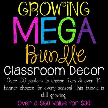 Growing MEGA Seasonal Classroom Decor Bundle of Posters & Banners