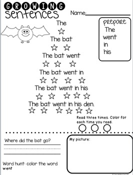 Growing Sentences: 45 Fluency Sentences for Emerging Readers